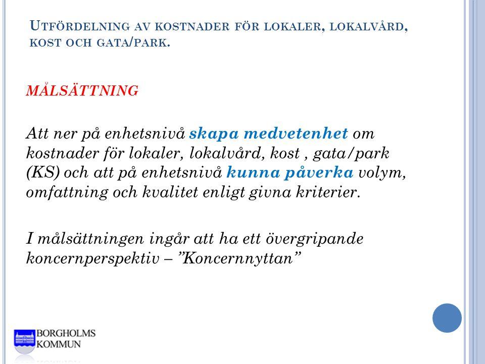 U TFÖRDELNING AV KOSTNADER FÖR LOKALER, LOKALVÅRD, KOST OCH GATA / PARK.