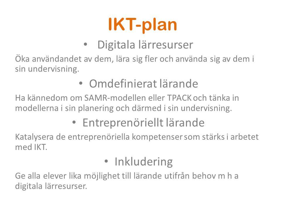 IKT-plan • Digitala lärresurser Öka användandet av dem, lära sig fler och använda sig av dem i sin undervisning. • Omdefinierat lärande Ha kännedom om