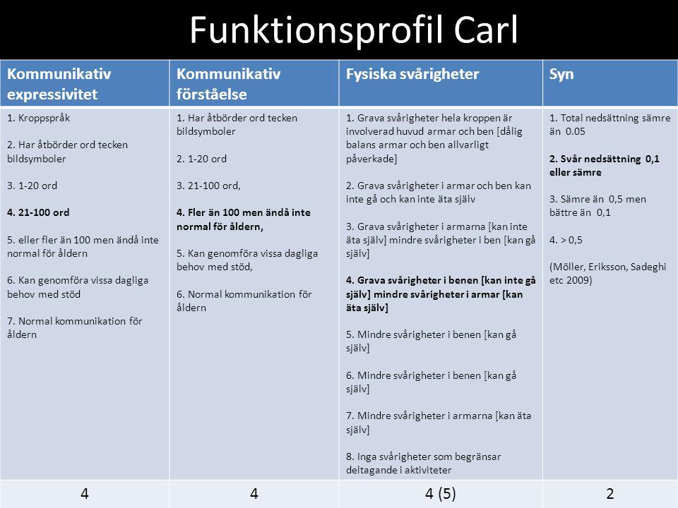Funktionsprofil Carl Kommunikativ expressivitet Kommunikativ förståelse Fysiska svårigheterSyn 1.
