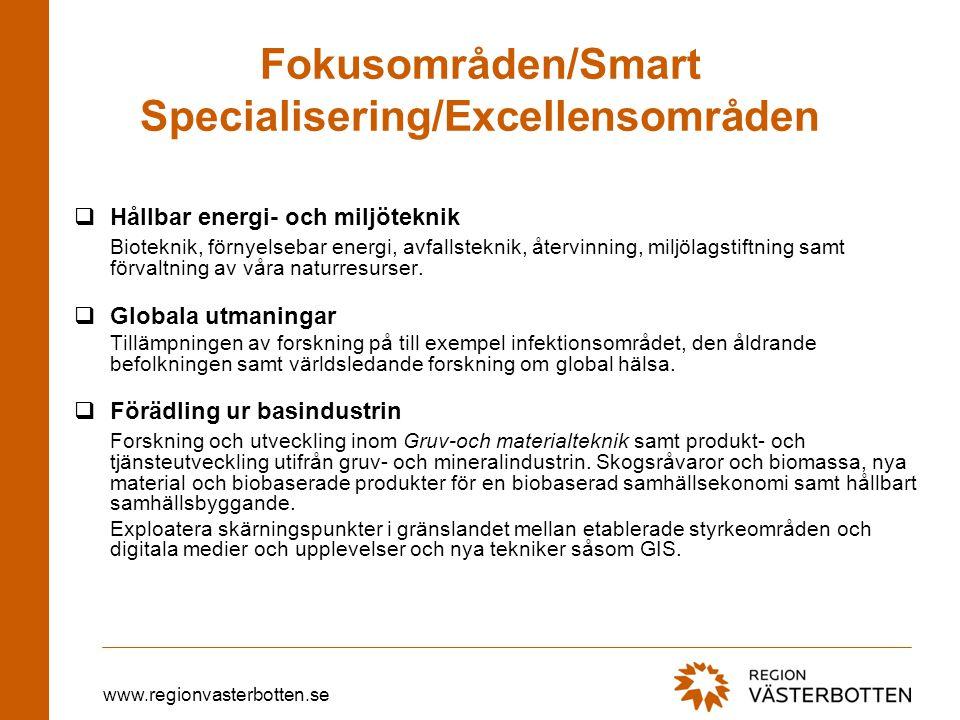 www.regionvasterbotten.se Fokusområden/Smart Specialisering/Excellensområden  Hållbar energi- och miljöteknik Bioteknik, förnyelsebar energi, avfalls