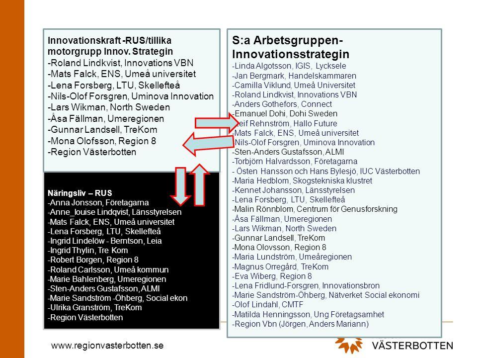 www.regionvasterbotten.se Näringsliv – RUS -Anna Jonsson, Företagarna -Anne_louise Lindqvist, Länsstyrelsen -Mats Falck, ENS, Umeå universitet -Lena F