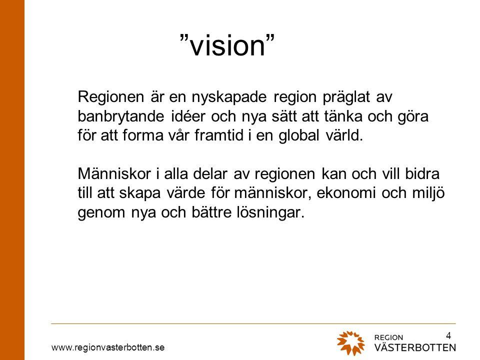 """www.regionvasterbotten.se """"vision"""" Regionen är en nyskapade region präglat av banbrytande idéer och nya sätt att tänka och göra för att forma vår fram"""