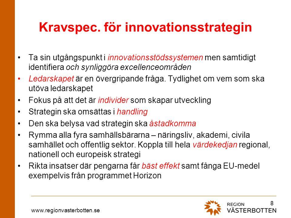 www.regionvasterbotten.se Kravspec. för innovationsstrategin •Ta sin utgångspunkt i innovationsstödssystemen men samtidigt identifiera och synliggöra