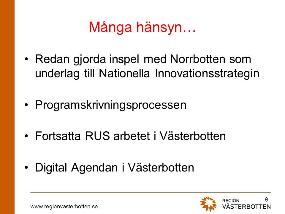 www.regionvasterbotten.se Många hänsyn… •Redan gjorda inspel med Norrbotten som underlag till Nationella Innovationsstrategin •Programskrivningsproces