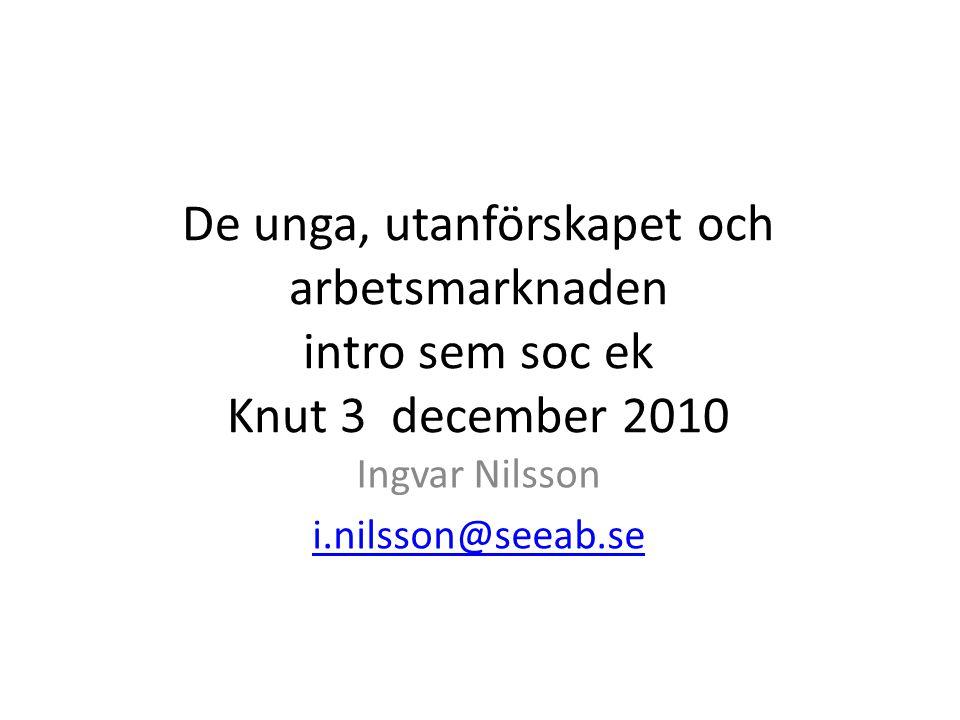 De unga, utanförskapet och arbetsmarknaden intro sem soc ek Knut 3 december 2010 Ingvar Nilsson i.nilsson@seeab.se