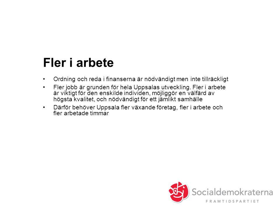 Fler i arbete •Ordning och reda i finanserna är nödvändigt men inte tillräckligt •Fler jobb är grunden för hela Uppsalas utveckling. Fler i arbete är