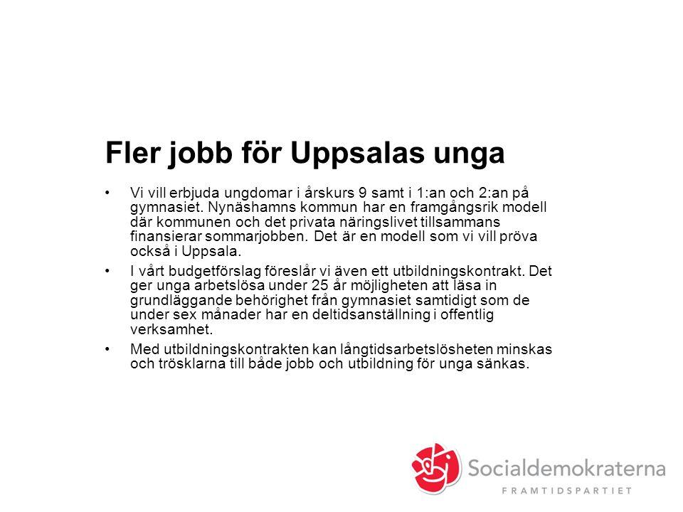 Fler jobb för Uppsalas unga •Vi vill erbjuda ungdomar i årskurs 9 samt i 1:an och 2:an på gymnasiet.