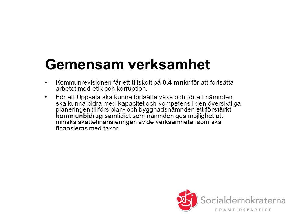 Gemensam verksamhet •Kommunrevisionen får ett tillskott på 0,4 mnkr för att fortsätta arbetet med etik och korruption. •För att Uppsala ska kunna fort