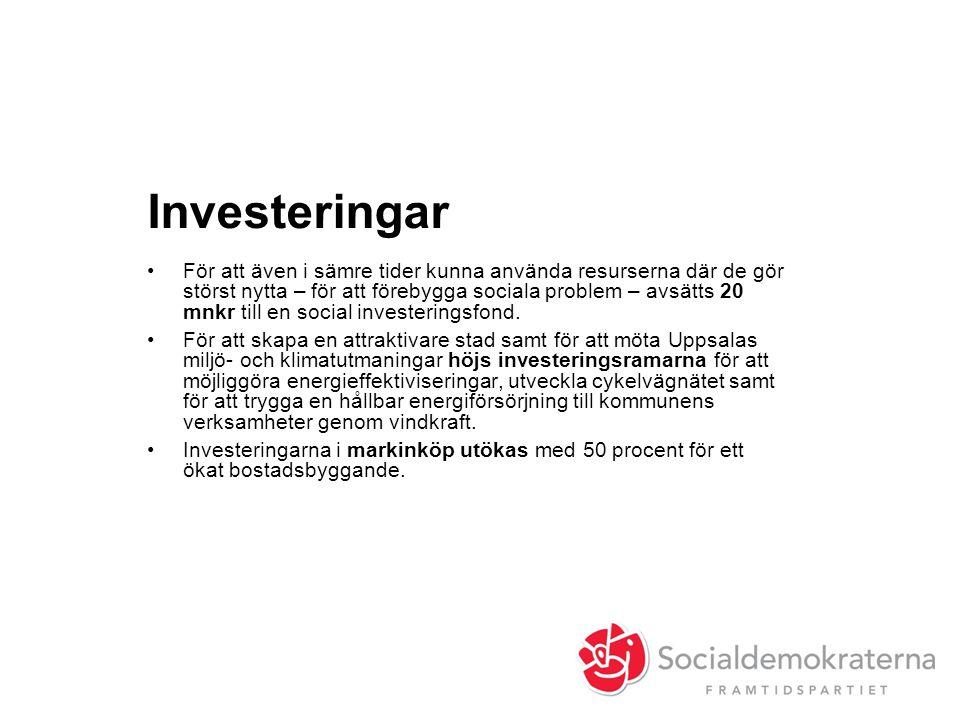 Investeringar •För att även i sämre tider kunna använda resurserna där de gör störst nytta – för att förebygga sociala problem – avsätts 20 mnkr till en social investeringsfond.