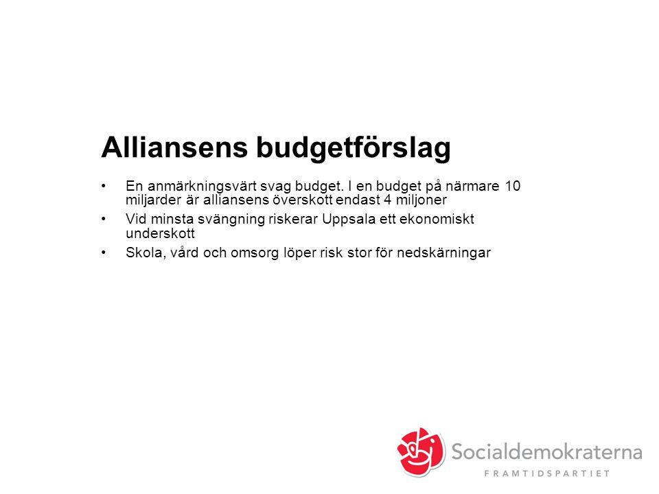 Alliansens budgetförslag •En anmärkningsvärt svag budget. I en budget på närmare 10 miljarder är alliansens överskott endast 4 miljoner •Vid minsta sv