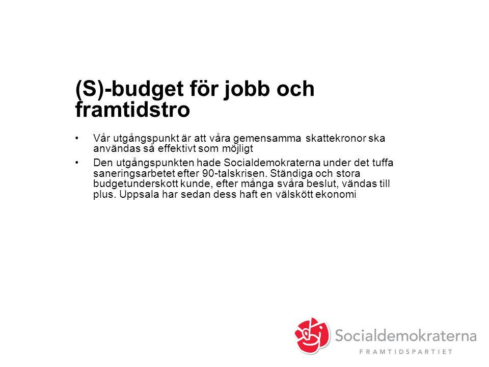 (S)-budget för jobb och framtidstro •Vår utgångspunkt är att våra gemensamma skattekronor ska användas så effektivt som möjligt •Den utgångspunkten hade Socialdemokraterna under det tuffa saneringsarbetet efter 90-talskrisen.