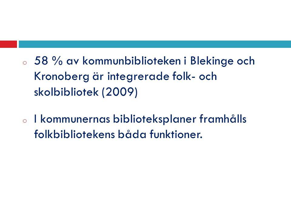 o 58 % av kommunbiblioteken i Blekinge och Kronoberg är integrerade folk- och skolbibliotek (2009) o I kommunernas biblioteksplaner framhålls folkbibliotekens båda funktioner.