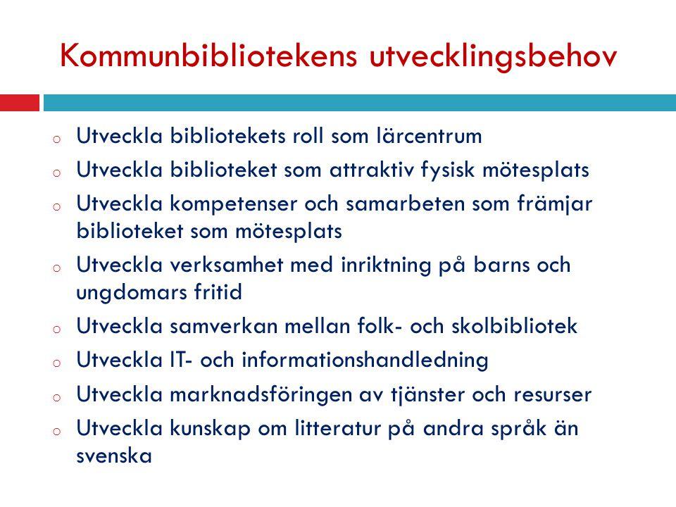 Kommunbibliotekens utvecklingsbehov o Utveckla bibliotekets roll som lärcentrum o Utveckla biblioteket som attraktiv fysisk mötesplats o Utveckla kompetenser och samarbeten som främjar biblioteket som mötesplats o Utveckla verksamhet med inriktning på barns och ungdomars fritid o Utveckla samverkan mellan folk- och skolbibliotek o Utveckla IT- och informationshandledning o Utveckla marknadsföringen av tjänster och resurser o Utveckla kunskap om litteratur på andra språk än svenska