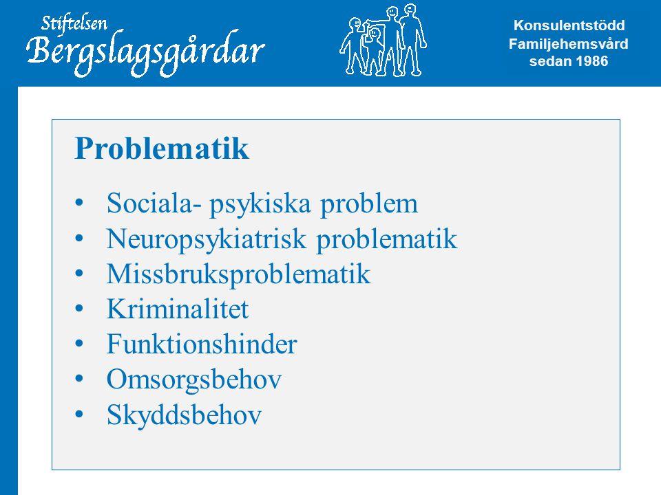 Problematik • Sociala- psykiska problem • Neuropsykiatrisk problematik • Missbruksproblematik • Kriminalitet • Funktionshinder • Omsorgsbehov • Skyddsbehov Konsulentstödd Familjehemsvård Konsulentstödd Familjehemsvård sedan 1986