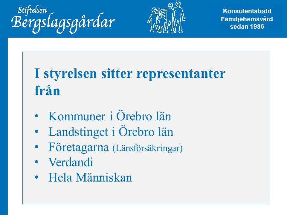 I styrelsen sitter representanter från • Kommuner i Örebro län • Landstinget i Örebro län • Företagarna (Länsförsäkringar) • Verdandi • Hela Människan Konsulentstödd Familjehemsvård Konsulentstödd Familjehemsvård sedan 1986