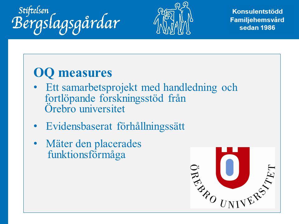 OQ measures • Ett samarbetsprojekt med handledning och fortlöpande forskningsstöd från Örebro universitet • Evidensbaserat förhållningssätt • Mäter den placerades funktionsförmåga Konsulentstödd Familjehemsvård Konsulentstödd Familjehemsvård sedan 1986