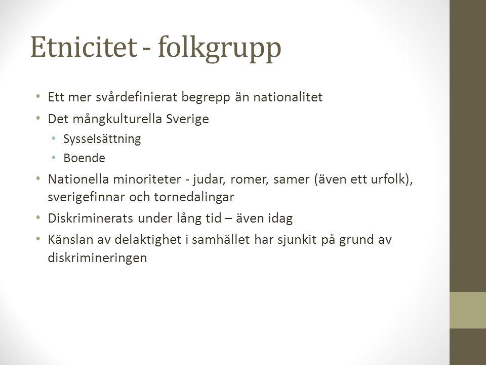 Etnicitet - folkgrupp • Ett mer svårdefinierat begrepp än nationalitet • Det mångkulturella Sverige • Sysselsättning • Boende • Nationella minoriteter