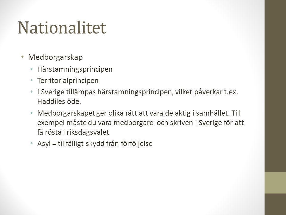Nationalitet • Medborgarskap • Härstamningsprincipen • Territorialprincipen • I Sverige tillämpas härstamningsprincipen, vilket påverkar t.ex. Haddile
