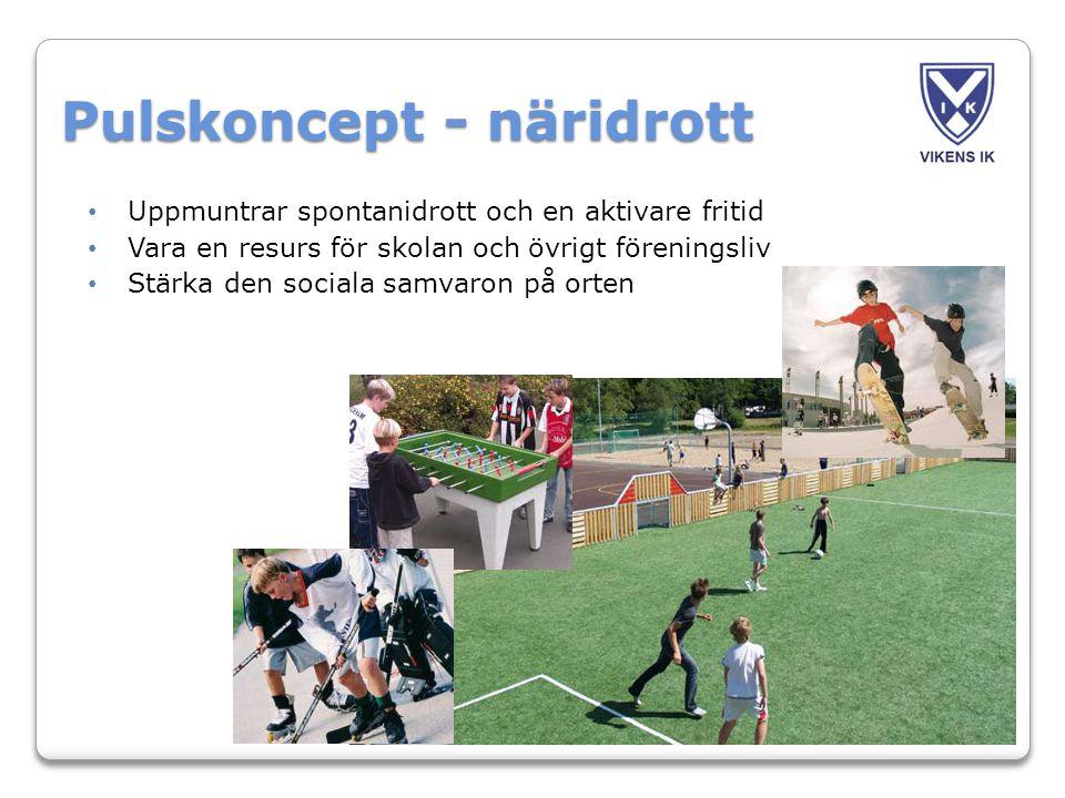 Pulskoncept - näridrott • Uppmuntrar spontanidrott och en aktivare fritid • Vara en resurs för skolan och övrigt föreningsliv • Stärka den sociala samvaron på orten