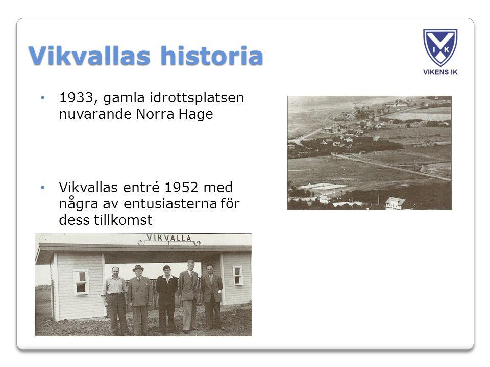Vikvallas historia • 1933, gamla idrottsplatsen nuvarande Norra Hage • Vikvallas entré 1952 med några av entusiasterna för dess tillkomst