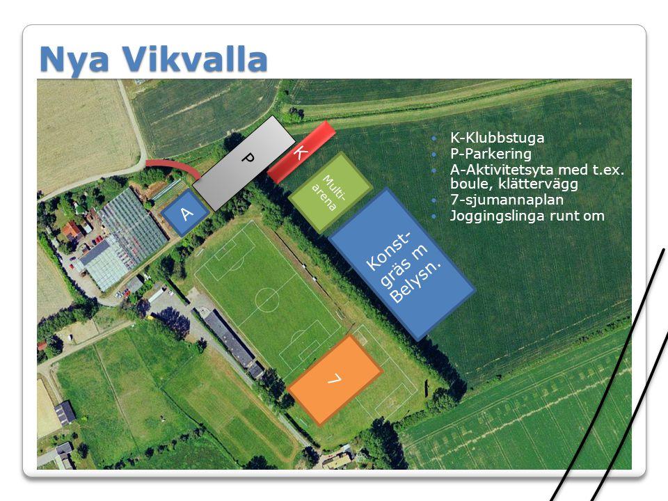 Konst- gräs m Belysn. 7 Multi- arena P P K K A Nya Vikvalla  K-Klubbstuga  P-Parkering  A-Aktivitetsyta med t.ex. boule, klättervägg  7-sjumannapl