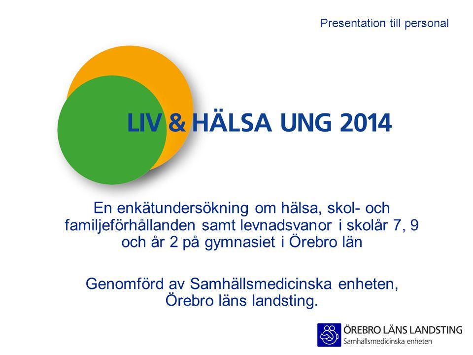 Presentation till personal En enkätundersökning om hälsa, skol- och familjeförhållanden samt levnadsvanor i skolår 7, 9 och år 2 på gymnasiet i Örebro