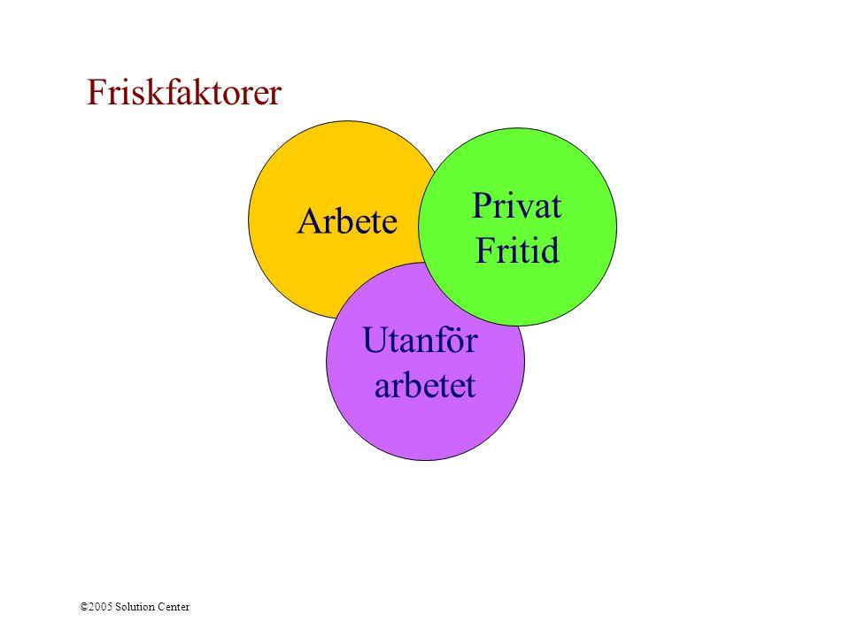 ©2005 Solution Center Arbete Utanför arbetet Privat Fritid Friskfaktorer