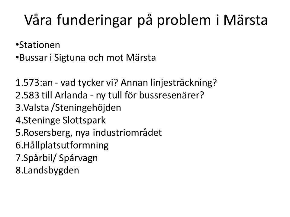 • Stationen • Bussar i Sigtuna och mot Märsta 1.573:an - vad tycker vi? Annan linjesträckning? 2.583 till Arlanda - ny tull för bussresenärer? 3.Valst