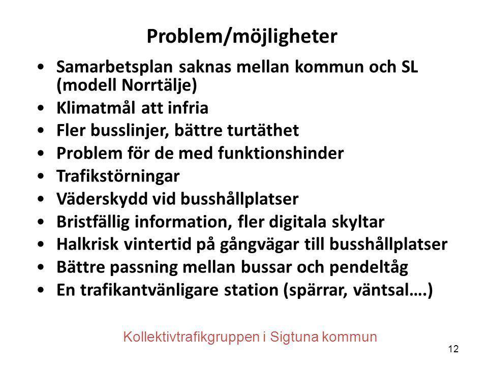 Problem/möjligheter •Samarbetsplan saknas mellan kommun och SL (modell Norrtälje) •Klimatmål att infria •Fler busslinjer, bättre turtäthet •Problem fö