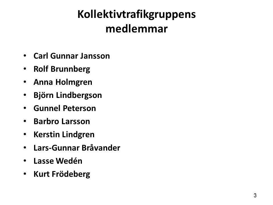 Kollektivtrafikgruppens medlemmar • Carl Gunnar Jansson • Rolf Brunnberg • Anna Holmgren • Björn Lindbergson • Gunnel Peterson • Barbro Larsson • Kers