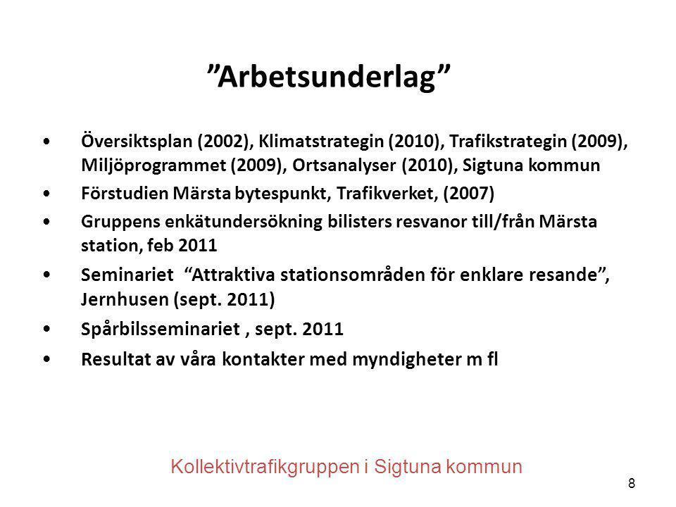 """""""Arbetsunderlag"""" •Översiktsplan (2002), Klimatstrategin (2010), Trafikstrategin (2009), Miljöprogrammet (2009), Ortsanalyser (2010), Sigtuna kommun •F"""