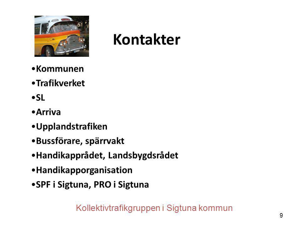 Kontakter •Kommunen •Trafikverket •SL •Arriva •Upplandstrafiken •Bussförare, spärrvakt •Handikapprådet, Landsbygdsrådet •Handikapporganisation •SPF i