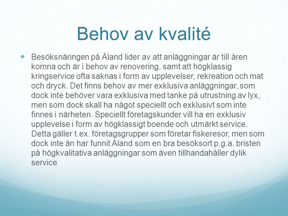 Behov av kvalité  Besöksnäringen på Åland lider av att anläggningar är till åren komna och är i behov av renovering, samt att högklassig kringservice ofta saknas i form av upplevelser, rekreation och mat och dryck.