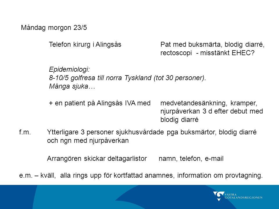 En av resenärerna sett på tysk TV om ett Utbrott med EHEC där…ca 300 sjuka och 3-4 patienter i coma… Uppskattningsvis halva bussällskapet sjuka Preliminär insjuknandekurva 23/5 21.00