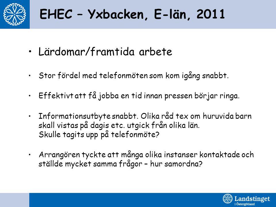 EHEC – Yxbacken, E-län, 2011 •Lärdomar/framtida arbete •Stor fördel med telefonmöten som kom igång snabbt. •Effektivt att få jobba en tid innan presse