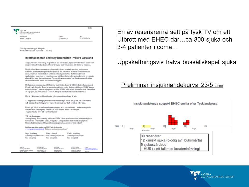 En av resenärerna sett på tysk TV om ett Utbrott med EHEC där…ca 300 sjuka och 3-4 patienter i coma… Uppskattningsvis halva bussällskapet sjuka Prelim