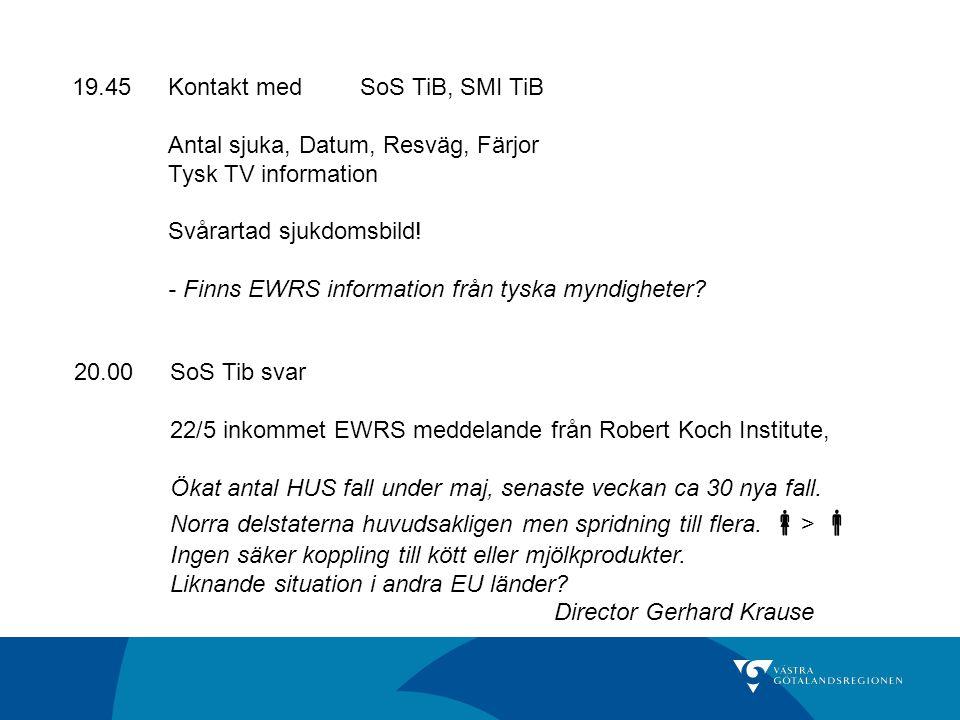 19.45Kontakt med SoS TiB, SMI TiB Antal sjuka, Datum, Resväg, Färjor Tysk TV information Svårartad sjukdomsbild! - Finns EWRS information från tyska m