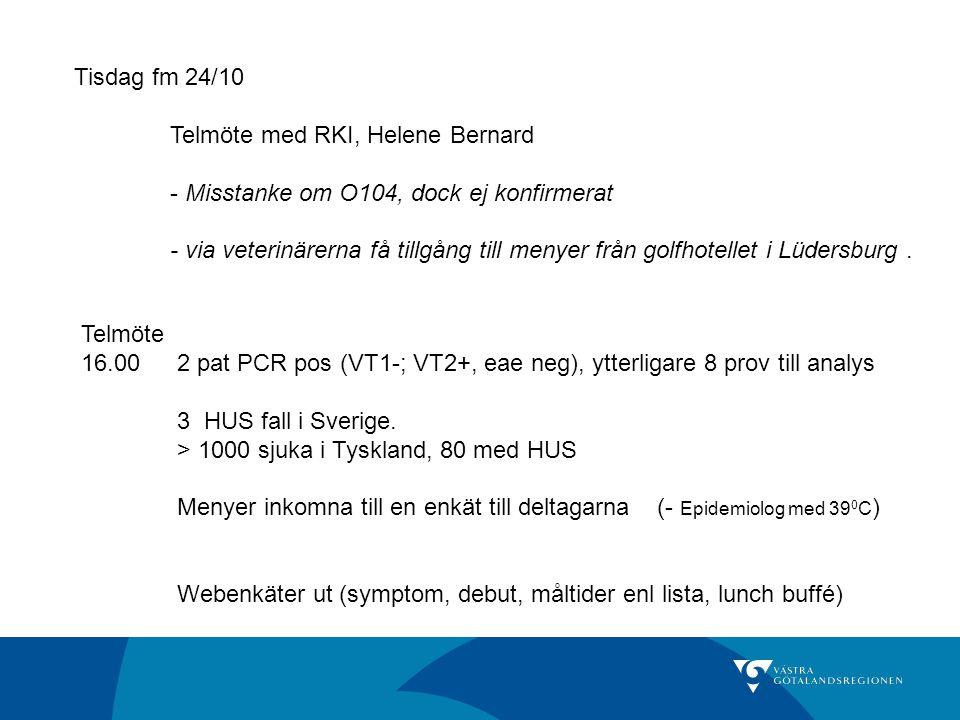 Tisdag fm 24/10 Telmöte med RKI, Helene Bernard - Misstanke om O104, dock ej konfirmerat - via veterinärerna få tillgång till menyer från golfhotellet