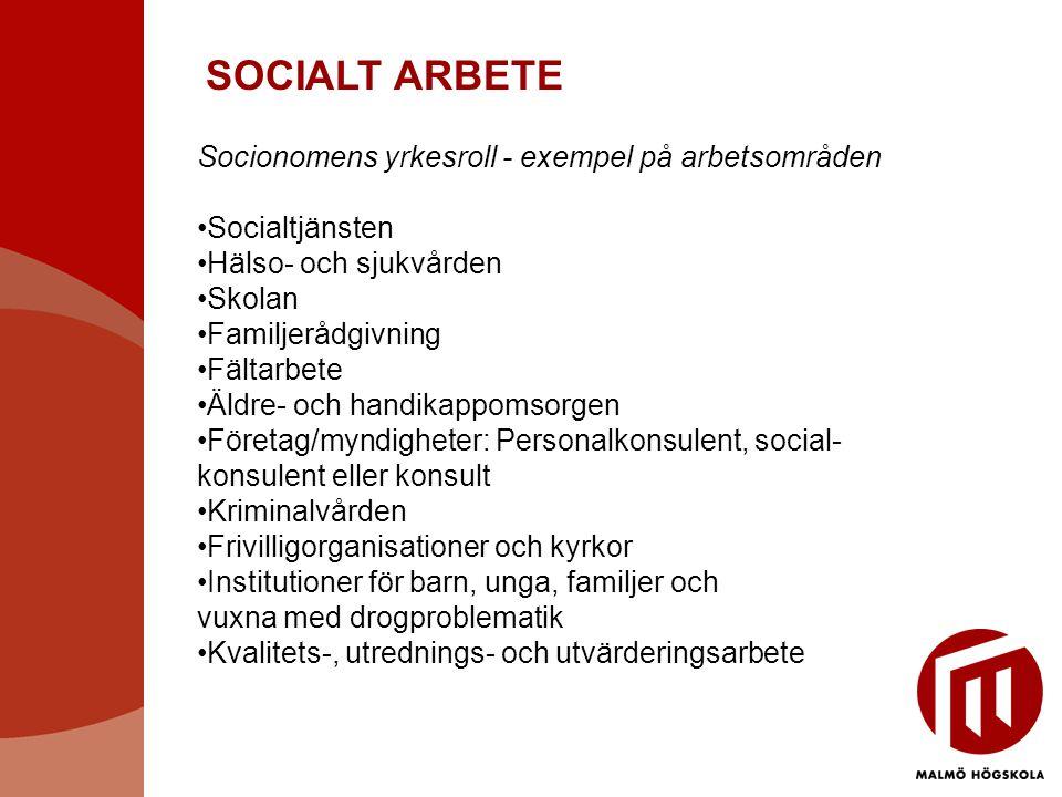 SOCIALT ARBETE Socionomens yrkesroll - exempel på arbetsområden •Socialtjänsten •Hälso- och sjukvården •Skolan •Familjerådgivning •Fältarbete •Äldre-