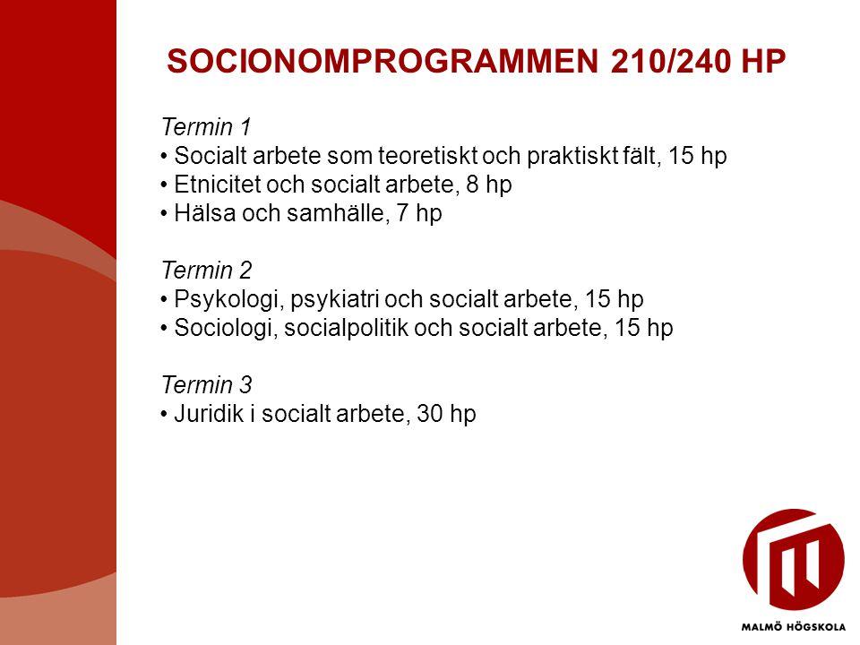 SOCIONOMPROGRAMMEN 210/240 HP Termin 1 • Socialt arbete som teoretiskt och praktiskt fält, 15 hp • Etnicitet och socialt arbete, 8 hp • Hälsa och samh