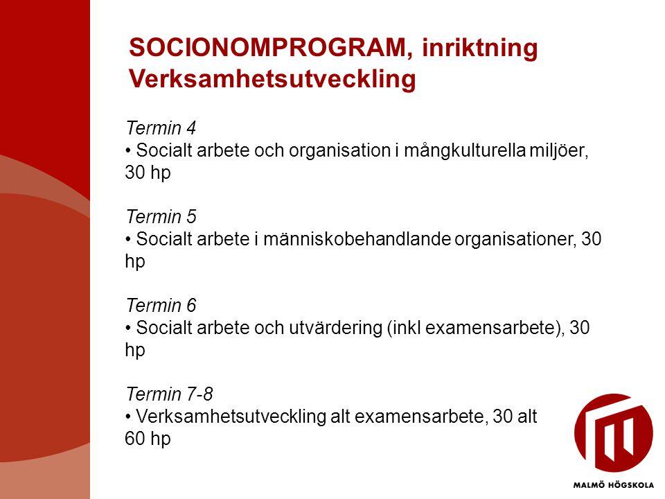 SOCIONOMPROGRAM, inriktning Verksamhetsutveckling Termin 4 • Socialt arbete och organisation i mångkulturella miljöer, 30 hp Termin 5 • Socialt arbete