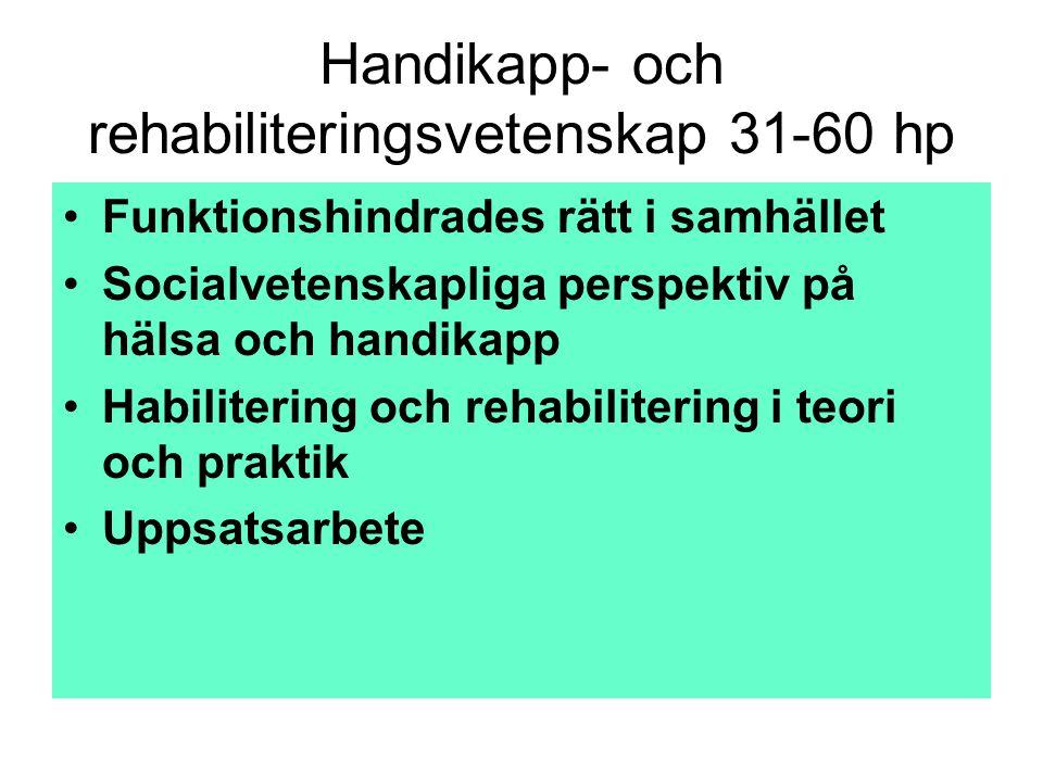 Handikapp- och rehabiliteringsvetenskap 31-60 hp •Funktionshindrades rätt i samhället •Socialvetenskapliga perspektiv på hälsa och handikapp •Habilite
