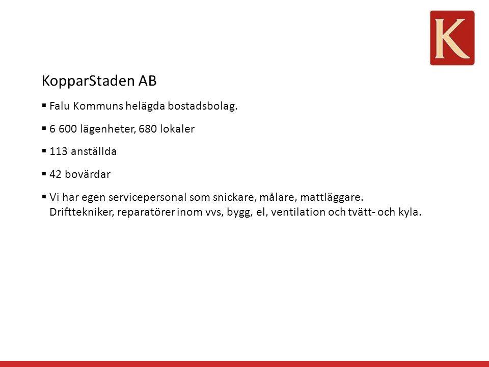 KopparStaden AB  Falu Kommuns helägda bostadsbolag.