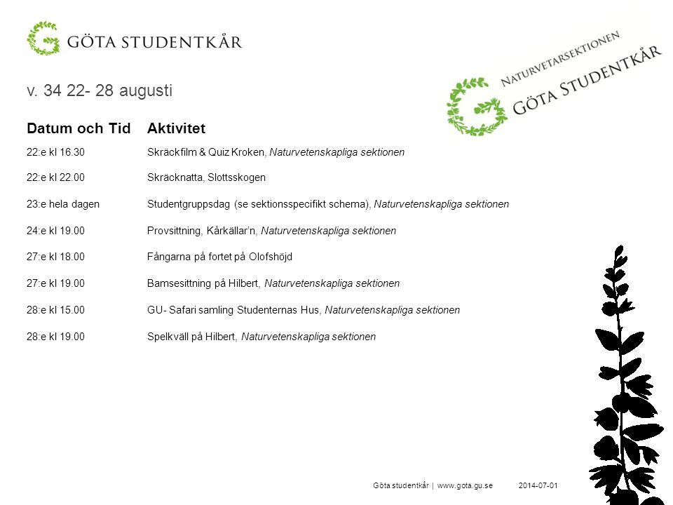 v. 34 22- 28 augusti 2014-07-01Göta studentkår | www.gota.gu.se Datum och TidAktivitet 22:e kl 16.30Skräckfilm & Quiz Kroken, Naturvetenskapliga sekti
