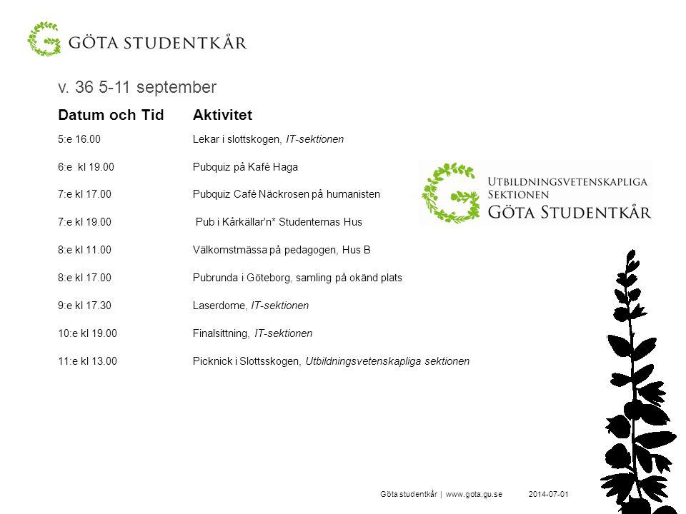 v. 36 5-11 september 2014-07-01Göta studentkår | www.gota.gu.se Datum och TidAktivitet 5:e 16.00Lekar i slottskogen, IT-sektionen 6:e kl 19.00 Pubquiz