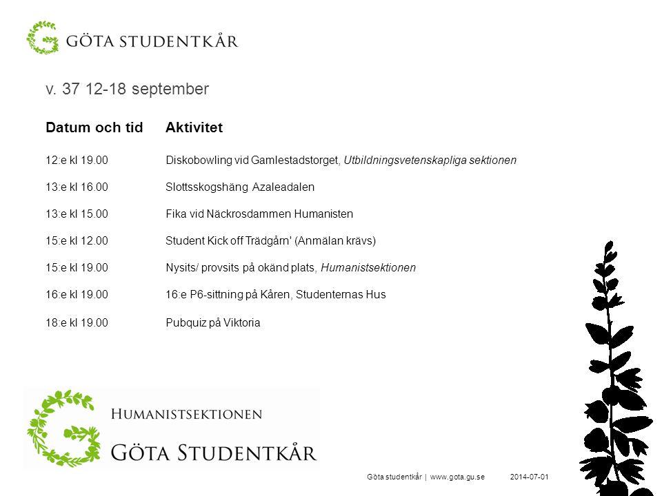 v. 37 12-18 september 2014-07-01Göta studentkår | www.gota.gu.se Datum och tidAktivitet 12:e kl 19.00Diskobowling vid Gamlestadstorget, Utbildningsvet