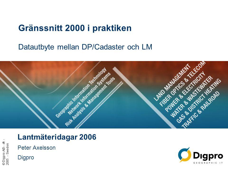 © Digpro AB - ‹#› - 2005 - Sweden Gränssnitt 2000 i praktiken Datautbyte mellan DP/Cadaster och LM Lantmäteridagar 2006 Peter Axelsson Digpro