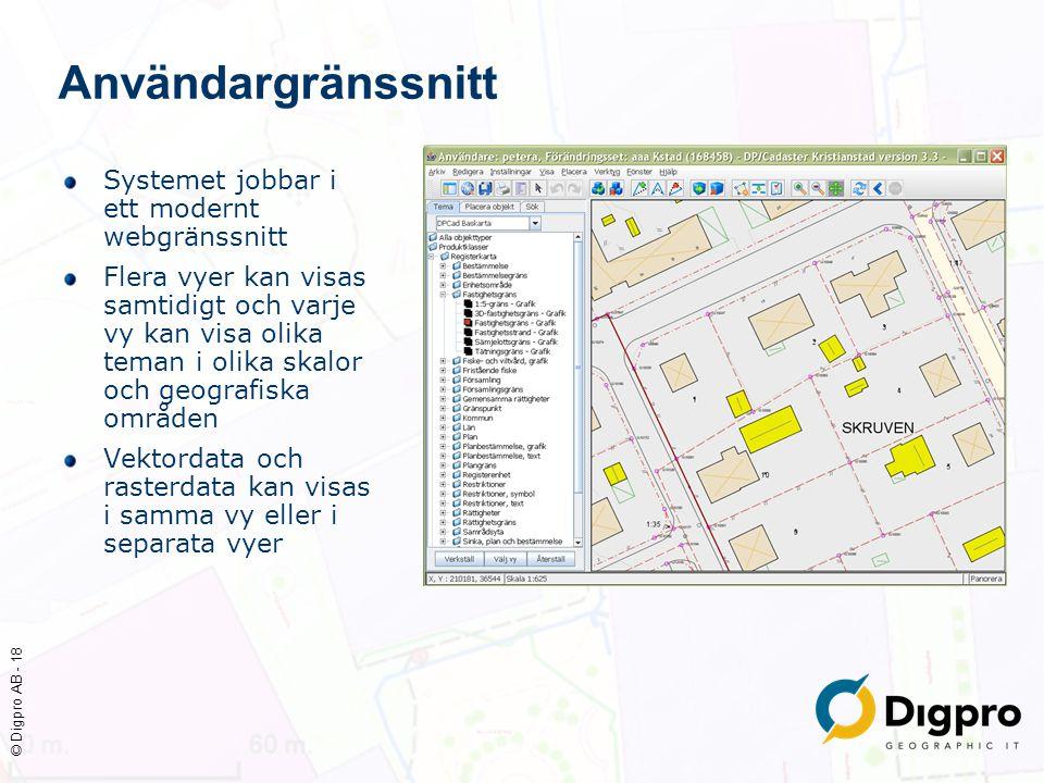 © Digpro AB - 18 Användargränssnitt Systemet jobbar i ett modernt webgränssnitt Flera vyer kan visas samtidigt och varje vy kan visa olika teman i oli