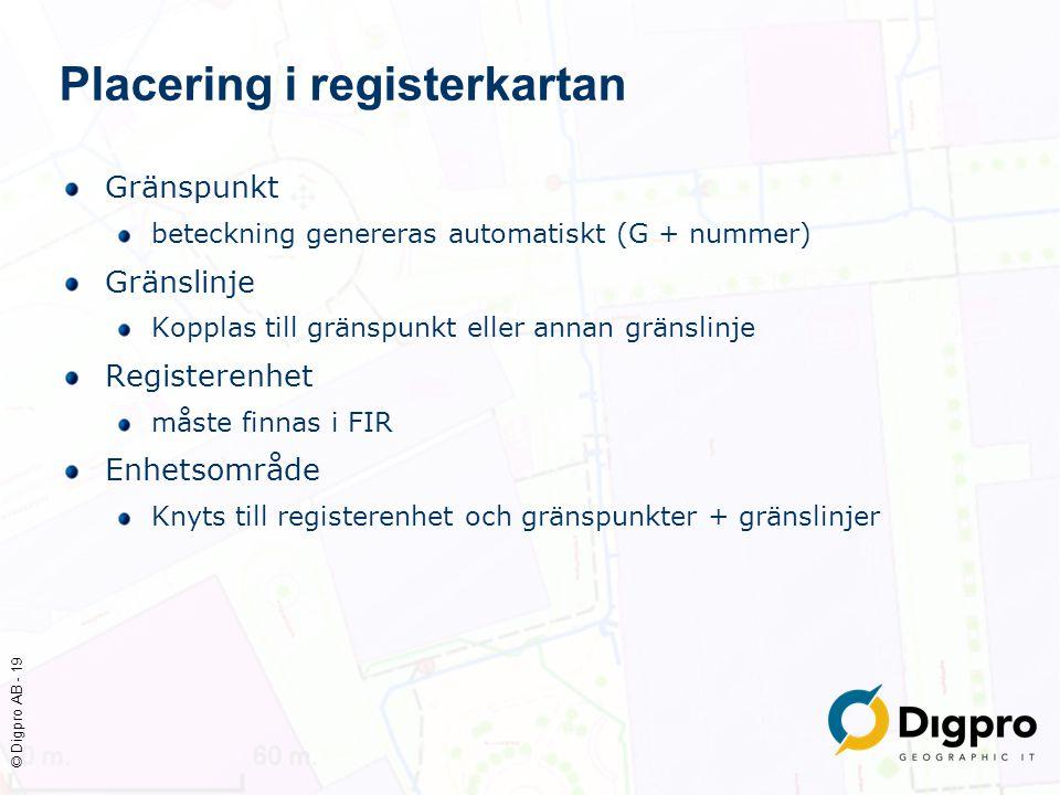 © Digpro AB - 19 Placering i registerkartan Gränspunkt beteckning genereras automatiskt (G + nummer) Gränslinje Kopplas till gränspunkt eller annan gr