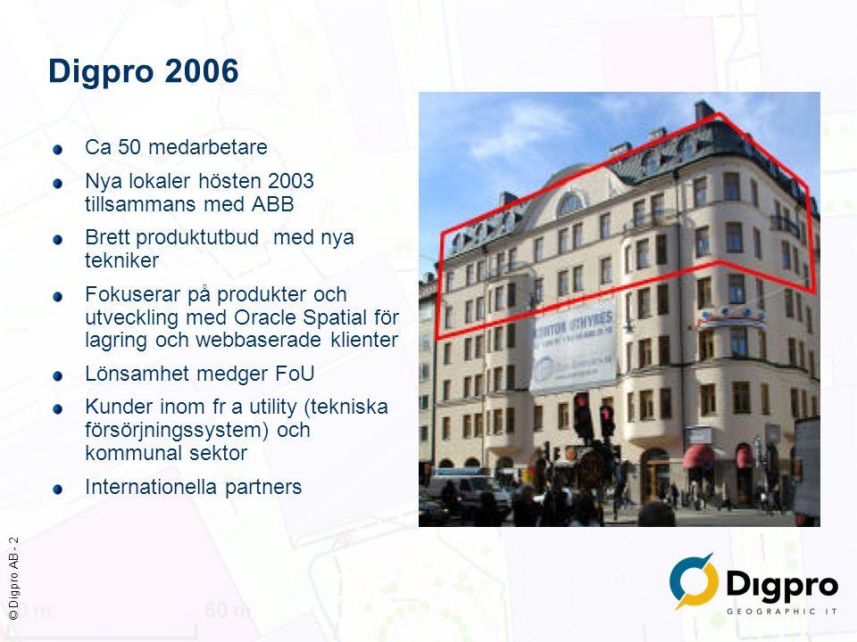 © Digpro AB - 3 Utveckling av basplattform DP/Spatial klar Oracle Spatial accepterad av marknaden Webbtekniken accepterad även för avancerade klienter Klienter för el, opto, FV, VA, gas, Brand/risk, MBK kartproduktion/hantering Processtöd och integrationer allt viktigare Digpro 2006